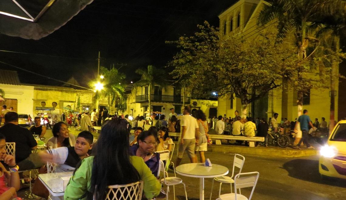 Vivid plaza in Cartagena Colombia