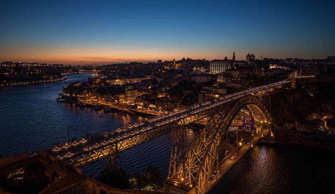 Sunset in Porto at the Ponte Luís I Bridge