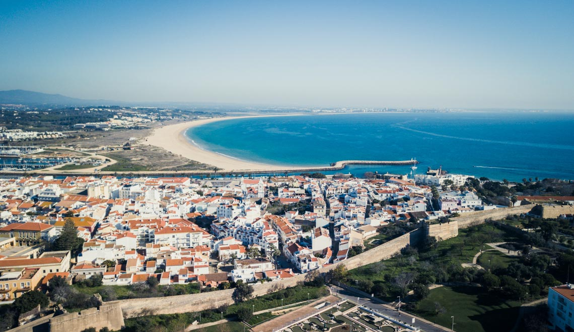 Aerial of the historic city center of Lagos in Portugal