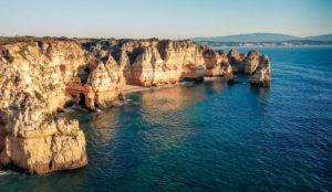 Coastline in the Algarve with cliffs